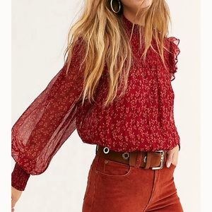 Free People Roma Blouse berry combo